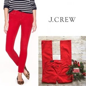 J. Crew red matchstick jeans