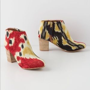 Anthropologie Miss Albright Ikat Ankle Boots RARE