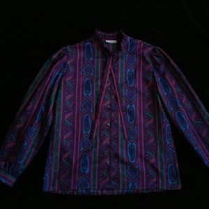 1980's Multi- Colored Western Blouse. Size - L