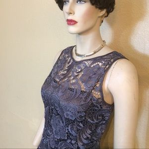 Adrianna Papell Charcoal Gray Lace Dress