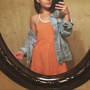 Orange terry cloth dress