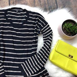 VINCE Navy Blue Striped Pullover Top