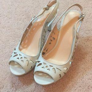 Mint cutout heels