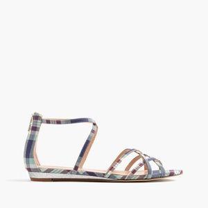 J. Crew Cary Mini-Wedge Sandals in Plaid Glitter
