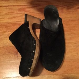 UGG black suede clogs womes size 9
