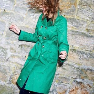 Boden green double breasted trench coat