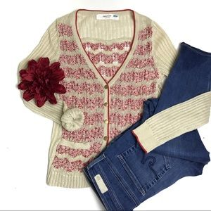 Anthropologie Sparrow Red and Cream Cardigan