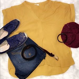 H&M Mustard Yellow Blouse 6