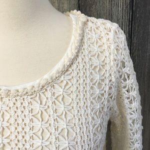 Anthro Akemi & Kin Boho crochet sweater Sz Medium
