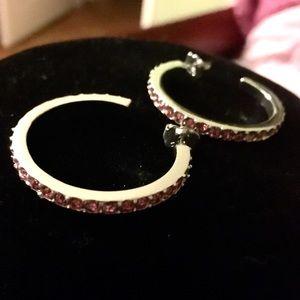 BRAND NEW Sim. PINK TOURMALINE Hoop Earrings.