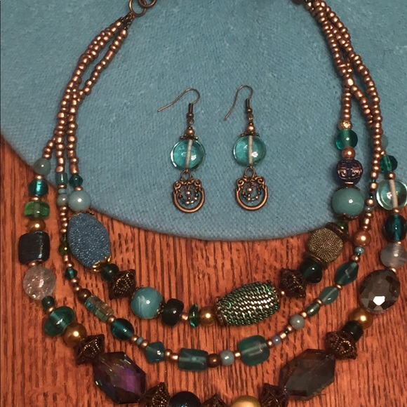 74 off JK Designs Jewelry Artsy Teal Gold Beaded Necklace