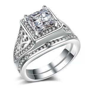 Women's White Gold Plated Wedding/Engagement Set