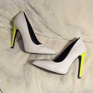 White pumps with Neon Heels!