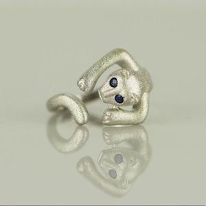 925 Sterling Silver Blue Rhinestone Cute Cat Ring