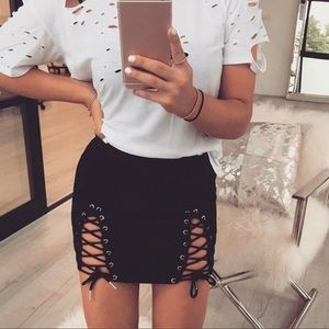 Black Suede Lace Up Mini Skirt