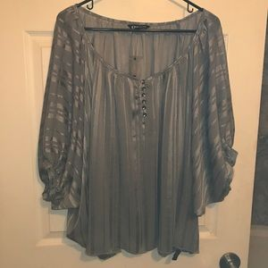 NWOT Express Silver Striped Oversized Blouse