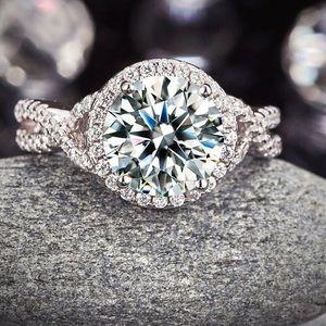 3 Ct VVS1 created diamond 925 silver promise ring