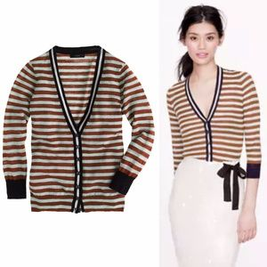 J. Crew Stripe Gauze Cardigan Sweater