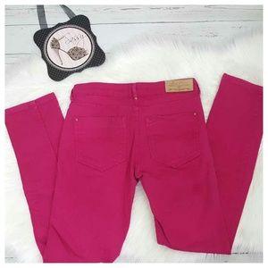 ZARA Hot Pink Skinny Jeans Slim Fit Low Rise Sz 2
