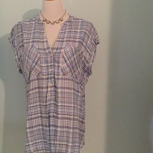 NWT Gap Plaid Button Tee