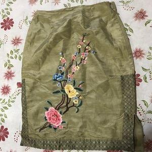 Silk Pencil Skirt