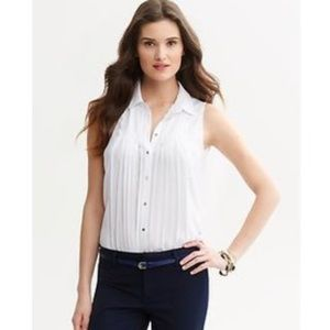 Sleeveless Pleated Button Down Collared Shirt Top