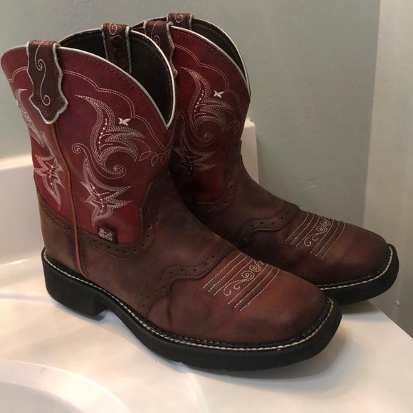 7ecc52f0856 Justin Gypsy Women's 10 Red Leather Western Boot