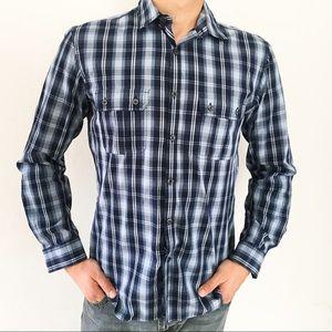 Alfani Slim Fit Casual Button-Down Blue Plaid👍🏼