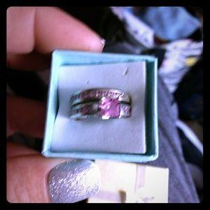 Sterling pink ice ring set