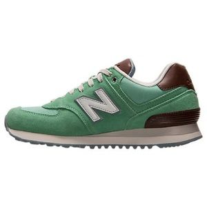 New Balance 574 beach cruiser mint and brown shoes