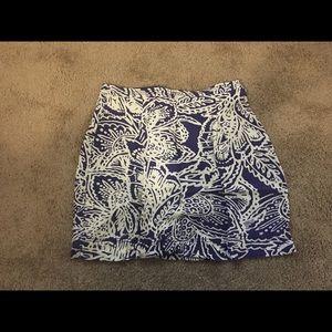 LOFT blue and white mini skirt, size 4P