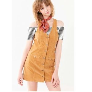 urban outfitters corduroy button up mini dress