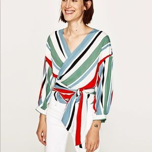 Zara basic collection crossover striped shirt