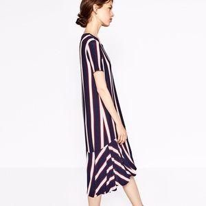 NWOT Zara Striped Dress with Frill
