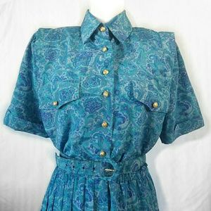 Vintage 40's Long Dress short sleeve floral blue