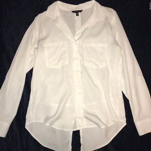 Long Sleeve Button Down Hidden Buttons And Tail