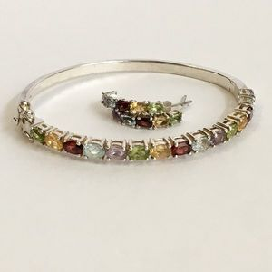 Multi Gemstone Bangle Bracelet & Earrings Silver