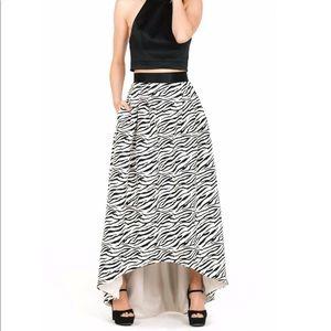 High-low Zebra Print Skirt
