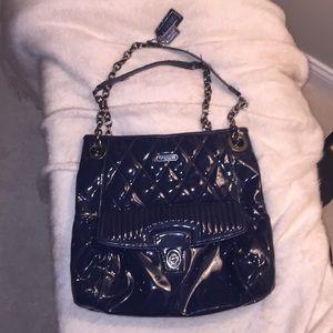 COACH patent leather blue purse