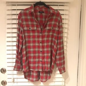 Madewell red plaid flannel shirt small