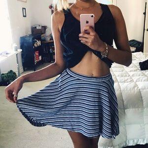 Blue x White Knit Flare Mini Skirt