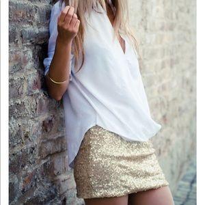 'Selena' Gold Sequin Mini Skirt