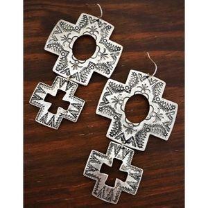 Jewelry - Long Silver Cross Concho Earrings