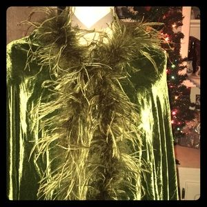 OS Green Velvet and Ostrich Feather Cape