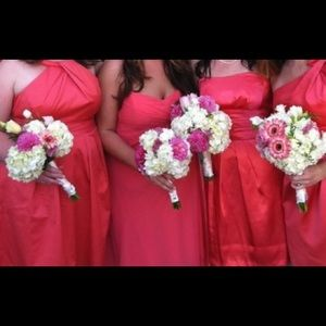 David's Bridal coral strapless dress WITH POCKETS