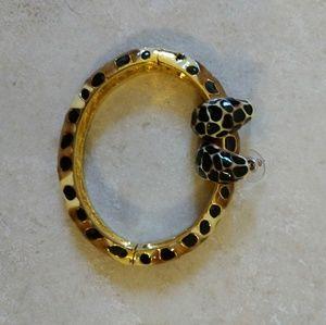 Rare vtg Kenneth Jay Lane leopard bangle/Earrings
