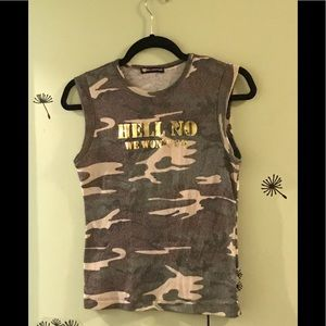Hell No We Won't Go Camouflage Tank