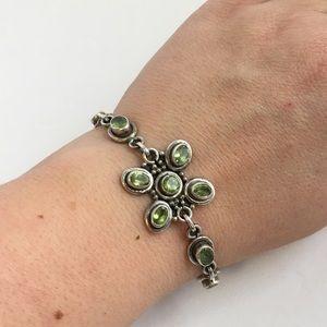 Peridot bracelet in Sterling Silver flower design