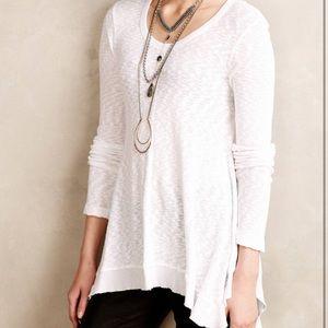 Anthropologie White Mixed Fabric Long Sleeve Tunic