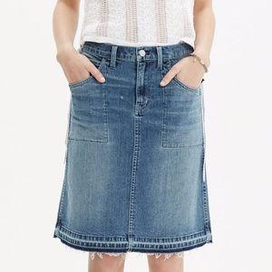 Madewell Raw-Edged Jean Skirt